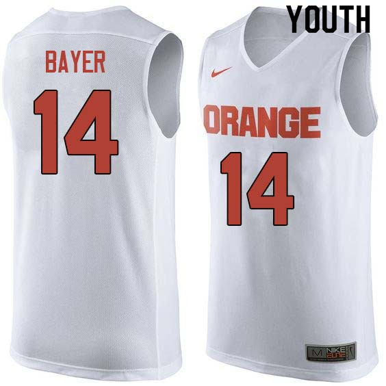 Youth #14 Braedon Bayer Syracuse White College Basketball Jerseys Sale-White