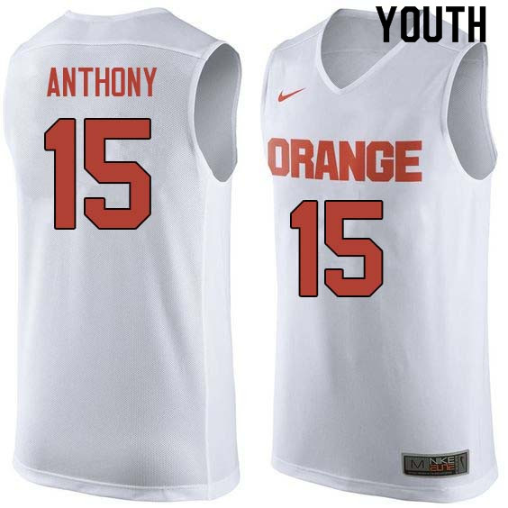 Youth #15 Carmelo Anthony Syracuse White College Basketball Jerseys Sale-White