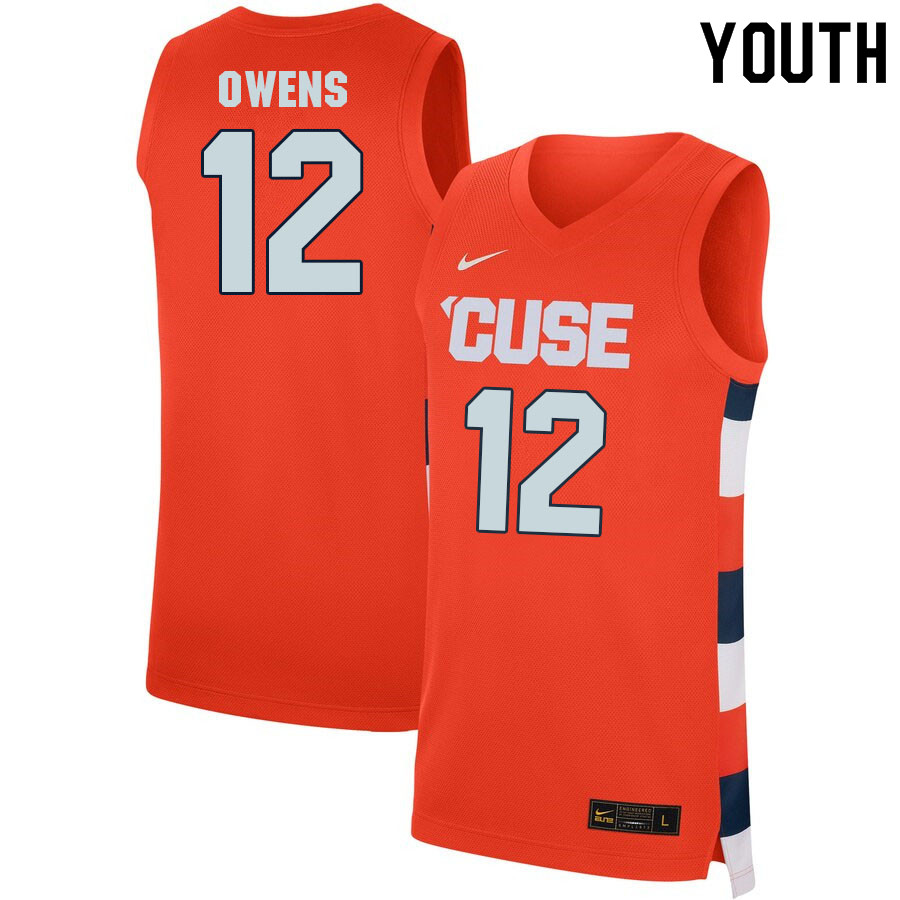 Youth #12 Chaz Owens Syracuse Orange College Basketball Jerseys Sale-Orange
