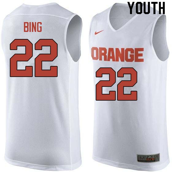 Youth #22 Dave Bing Syracuse White College Basketball Jerseys Sale-White