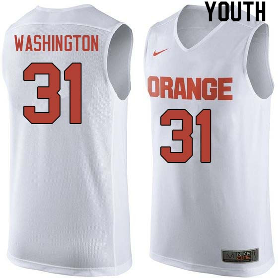 Youth #31 Dwyane Washington Syracuse White College Basketball Jerseys Sale-White