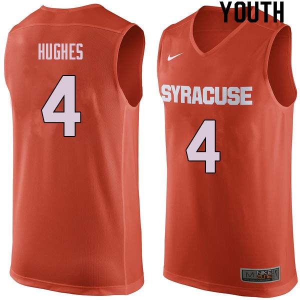 Youth #4 Elijah Hughes Syracuse Orange College Basketball Jerseys Sale-Orange