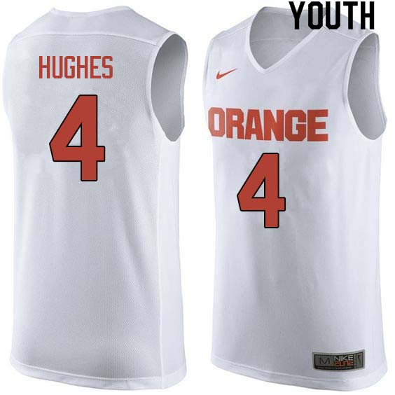 Youth #4 Elijah Hughes Syracuse White College Basketball Jerseys Sale-White