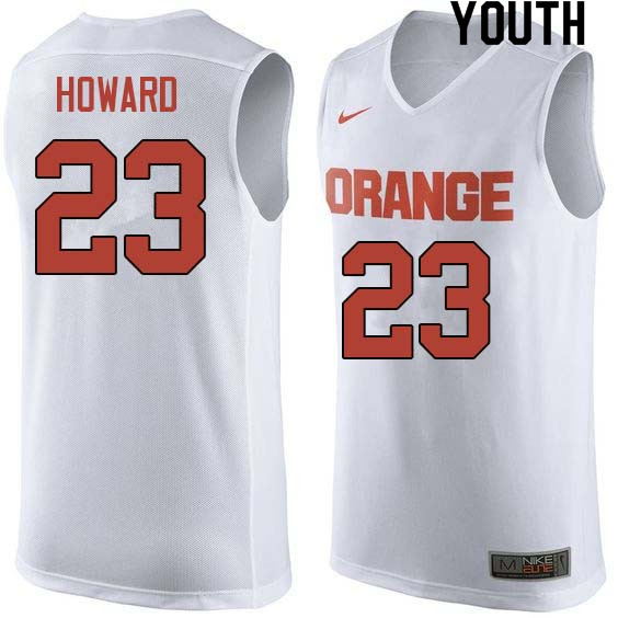 Youth #23 Frank Howard Syracuse White College Basketball Jerseys Sale-White