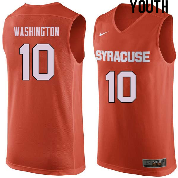 Youth #10 Howard Washington Syracuse Orange College Basketball Jerseys Sale-Orange