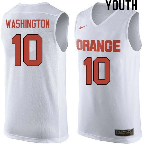 Youth #10 Howard Washington Syracuse White College Basketball Jerseys Sale-White