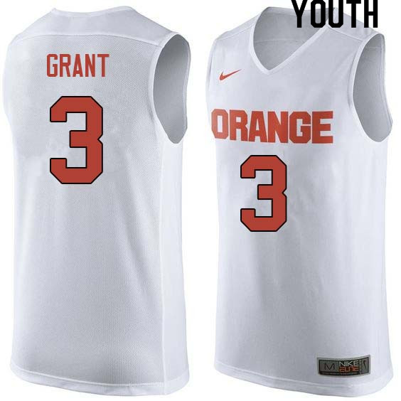 Youth #3 Jerami Grant Syracuse White College Basketball Jerseys Sale-White