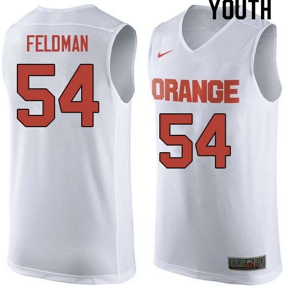 Youth #54 Ky Feldman Syracuse White College Basketball Jerseys Sale-White