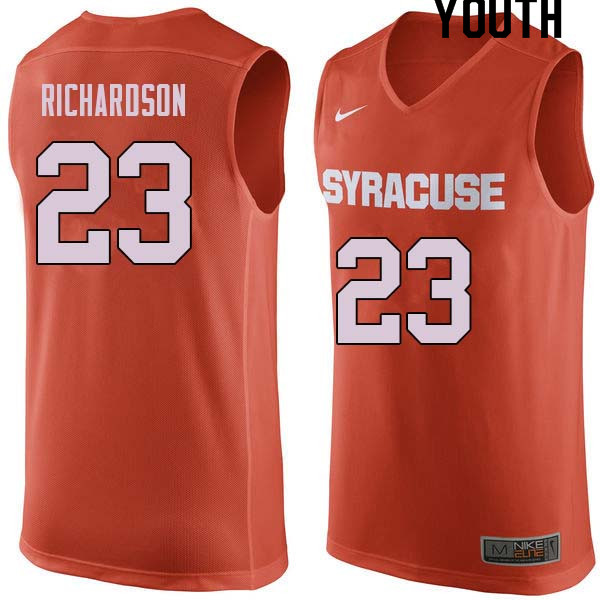 Youth #23 Malachi Richardson Syracuse Orange College Basketball Jerseys Sale-Orange