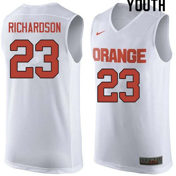 Youth #23 Malachi Richardson Syracuse White College Basketball Jerseys Sale-White
