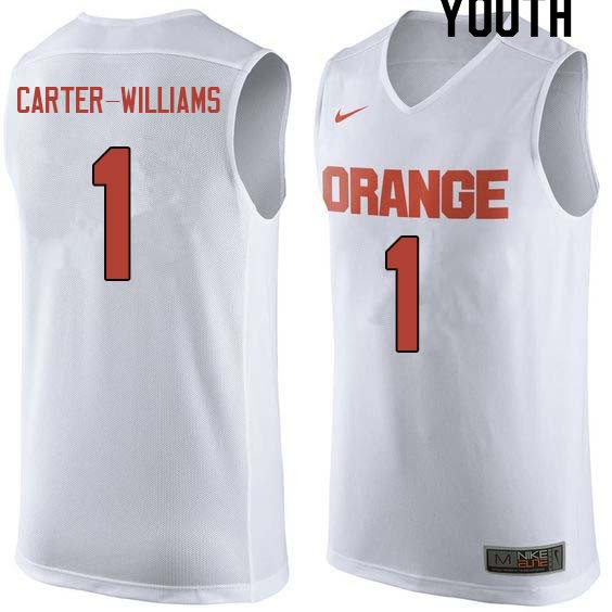Youth #1 Michael Carter-Williams Syracuse White College Basketball Jerseys Sale-White