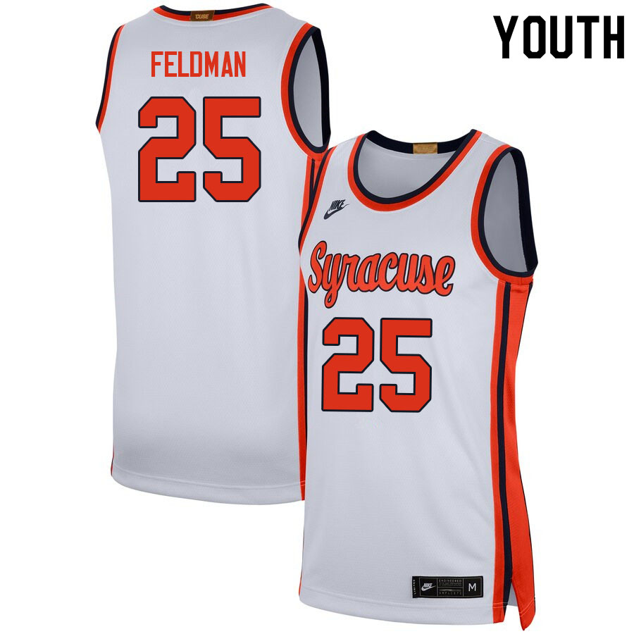 Youth #25 Shane Feldman Syracuse White College Basketball Jerseys Sale-White
