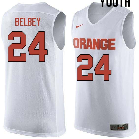 Youth #24 Shaun Belbey Syracuse White College Basketball Jerseys Sale-White
