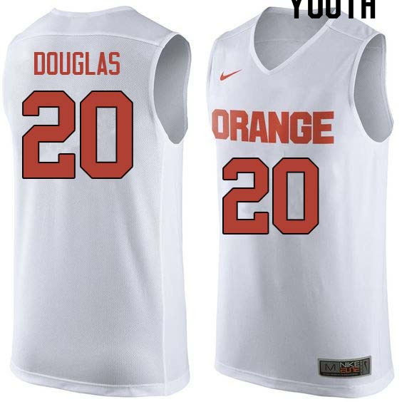 Youth #20 Sherman Douglas Syracuse White College Basketball Jerseys Sale-White