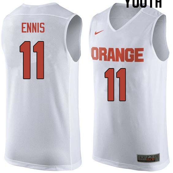 Youth #11 Tyler Ennis Syracuse White College Basketball Jerseys Sale-White