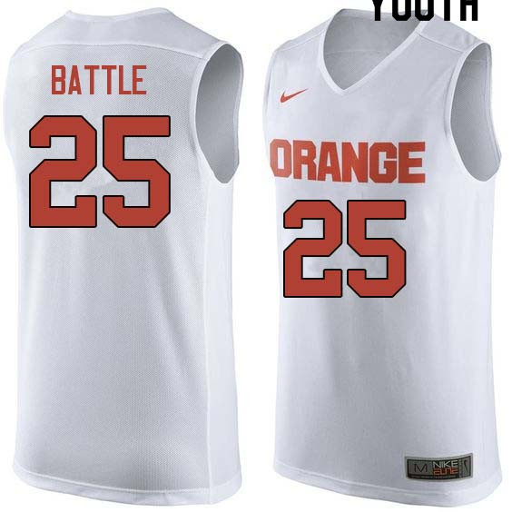 Youth  25 Tyus Battle Syracuse White College Basketball Jerseys Sale-White 25f65d9ab