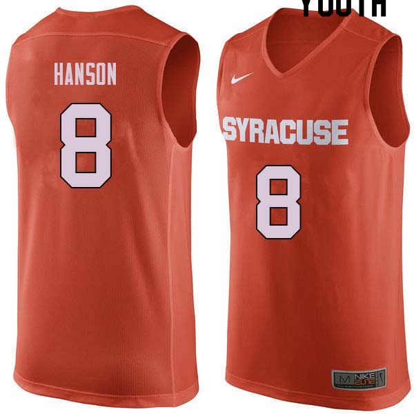 Youth #8 Vic Hanson Syracuse Orange College Basketball Jerseys Sale-Orange