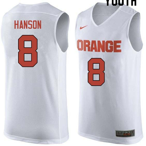 Youth #8 Vic Hanson Syracuse White College Basketball Jerseys Sale-White