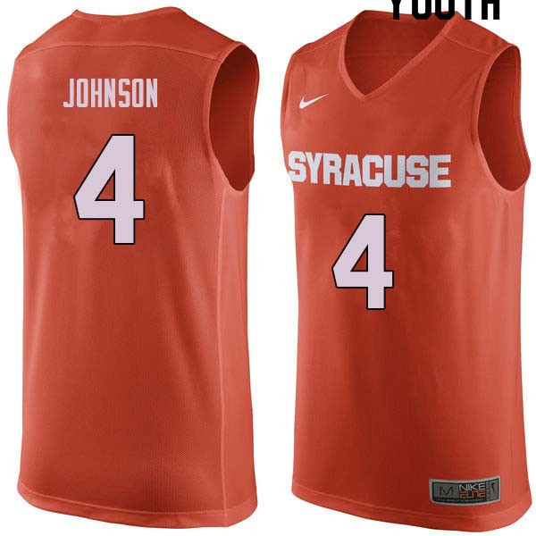 Youth #4 Wesley Johnson Syracuse Orange College Basketball Jerseys Sale-Orange
