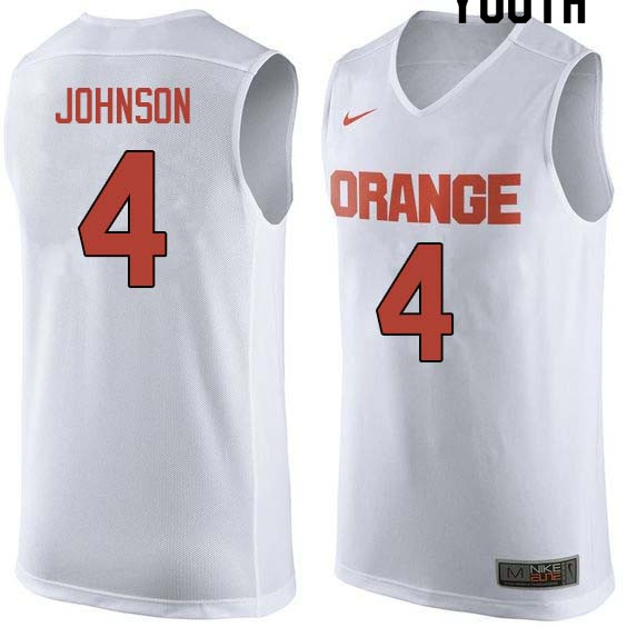 Youth #4 Wesley Johnson Syracuse White College Basketball Jerseys Sale-White