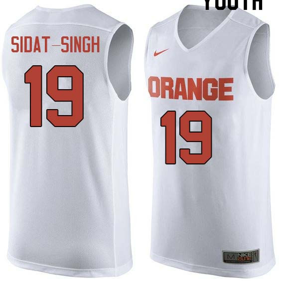 Youth #19 Wilmeth Sidat-Singh Syracuse White College Basketball Jerseys Sale-White